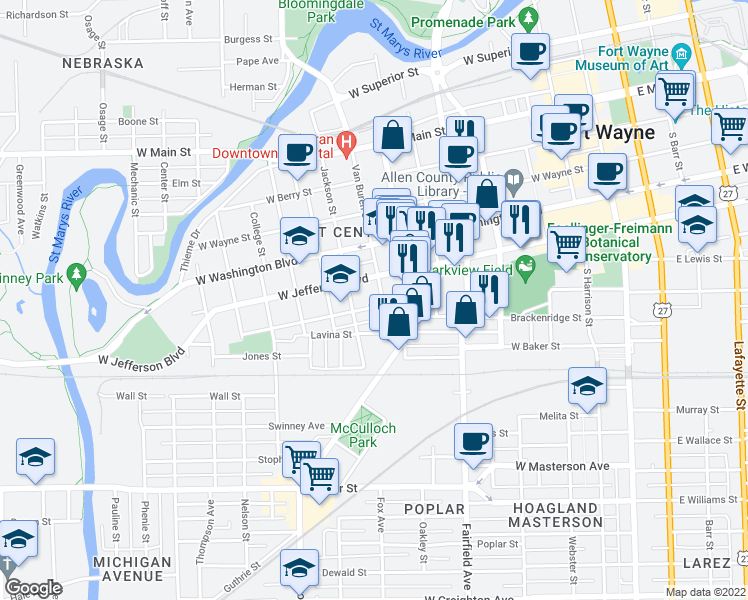 map of restaurants, bars, coffee shops, grocery stores, and more near 1127 Van Buren Street in Fort Wayne