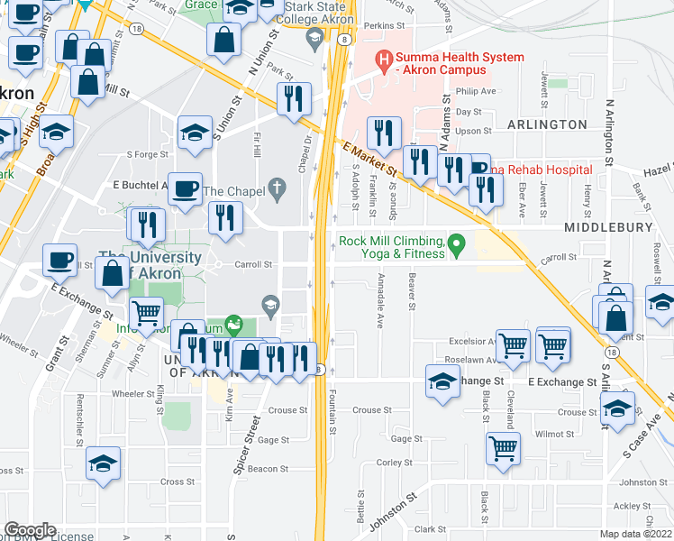 map of restaurants, bars, coffee shops, grocery stores, and more near 522 Carroll Street in Akron