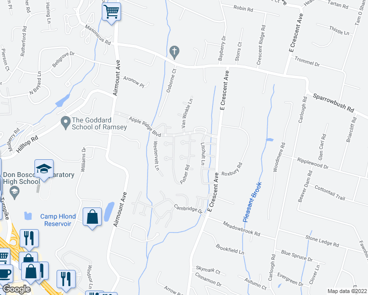 map of restaurants, bars, coffee shops, grocery stores, and more near 73 Fisher Road in Mahwah
