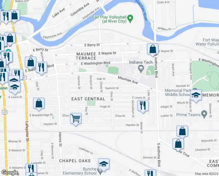 map of restaurants, bars, coffee shops, grocery stores, and more near Summit St in Fort Wayne