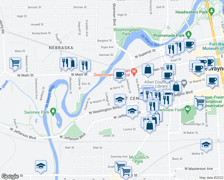 map of restaurants, bars, coffee shops, grocery stores, and more near 1103 West Berry Street in Fort Wayne