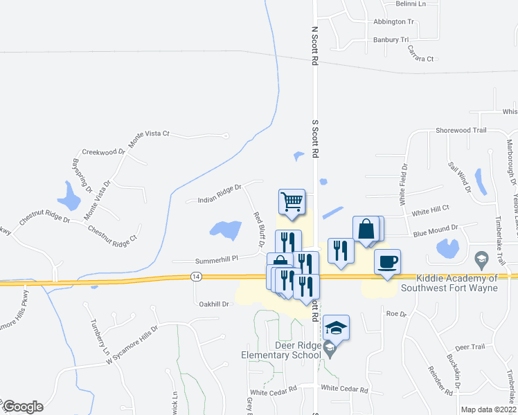 map of restaurants, bars, coffee shops, grocery stores, and more near 609 Red Bluff Drive in Fort Wayne