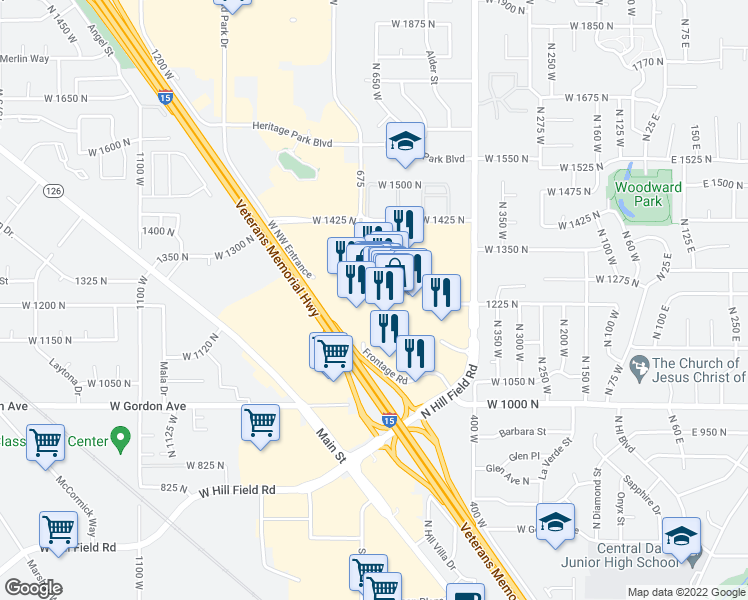 map of restaurants, bars, coffee shops, grocery stores, and more near 1076 Layton Hills Parkway in Layton