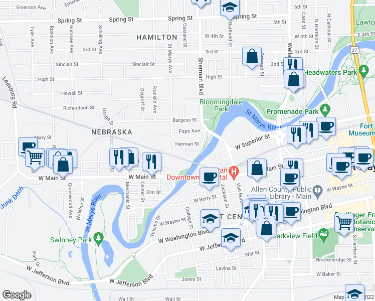 map of restaurants, bars, coffee shops, grocery stores, and more near 708 Frederick Street in Fort Wayne