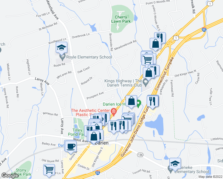 map of restaurants, bars, coffee shops, grocery stores, and more near 32 Prospect Avenue in Darien