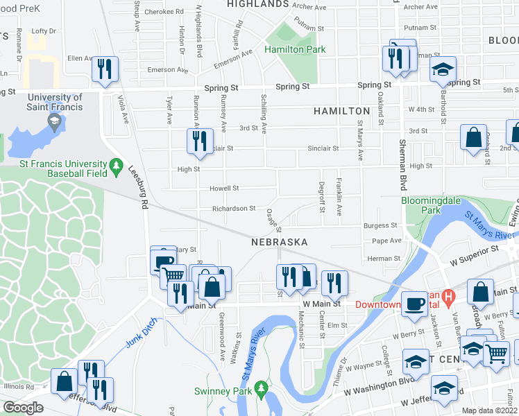 map of restaurants, bars, coffee shops, grocery stores, and more near Richardson St in Fort Wayne