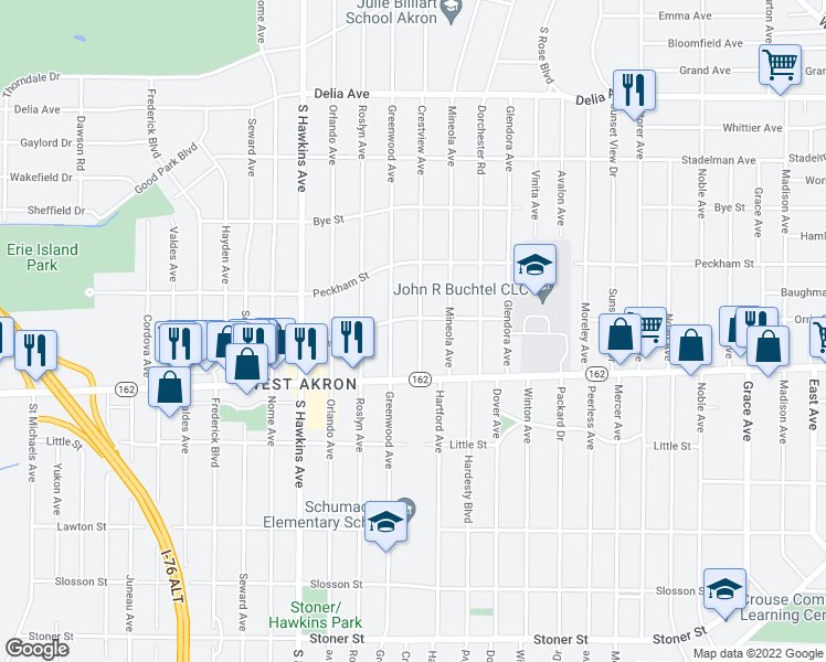 map of restaurants, bars, coffee shops, grocery stores, and more near 798 Crestview Avenue in Akron