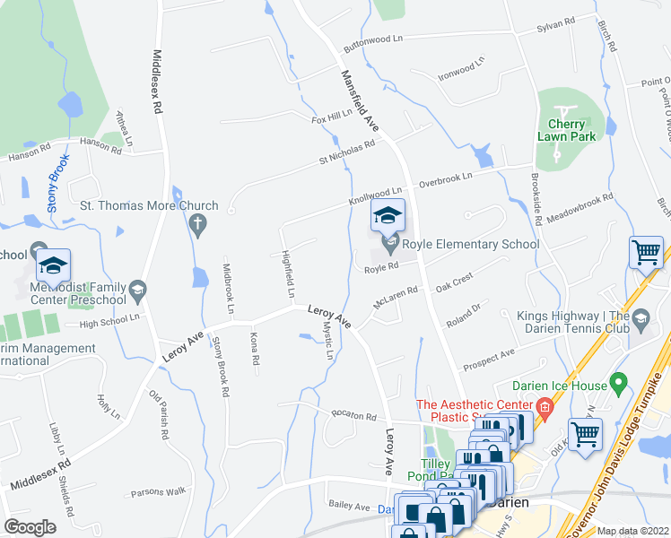map of restaurants, bars, coffee shops, grocery stores, and more near 1-39 West Avenue in Darien