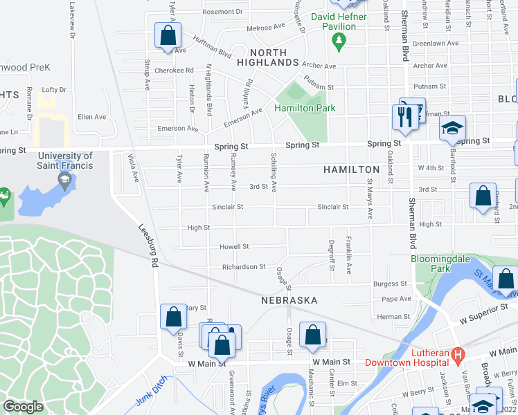 map of restaurants, bars, coffee shops, grocery stores, and more near Sinclair Street in Fort Wayne