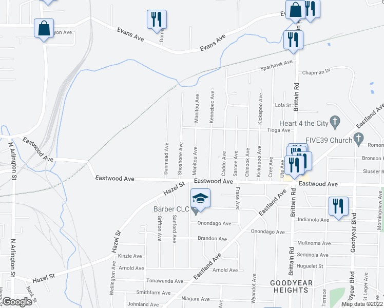 map of restaurants, bars, coffee shops, grocery stores, and more near 804 Manitou Avenue in Akron