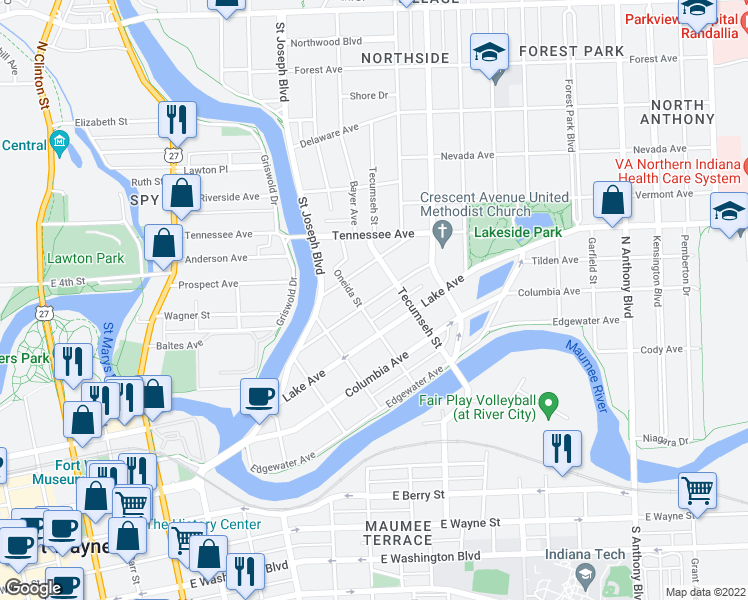 map of restaurants, bars, coffee shops, grocery stores, and more near 1111 Rivermet Avenue in Fort Wayne