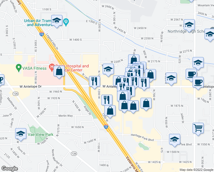 map of restaurants, bars, coffee shops, grocery stores, and more near 1142-1160 West Antelope Drive in Layton