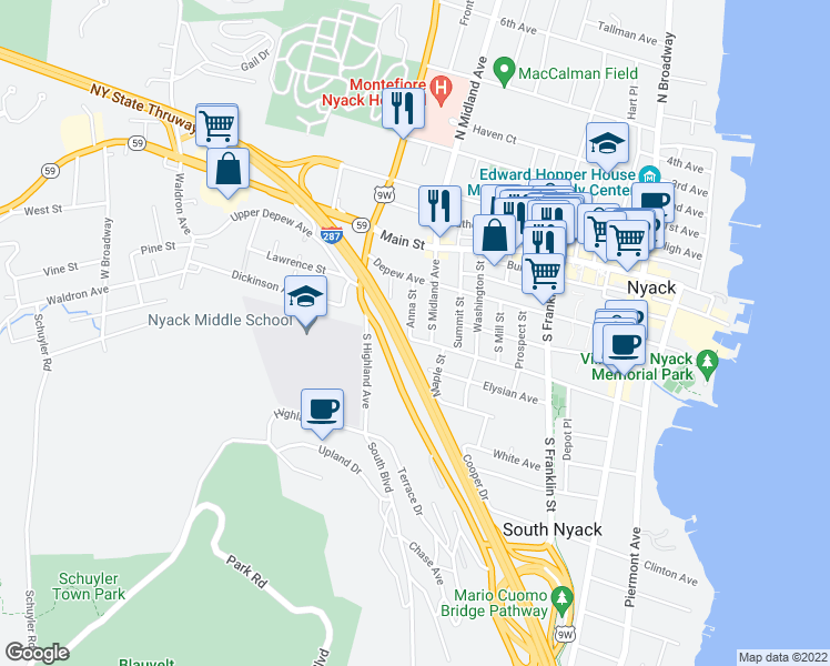 map of restaurants, bars, coffee shops, grocery stores, and more near 254 Cedar Hill Avenue in Nyack