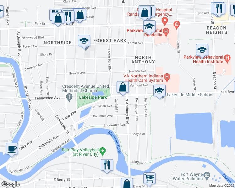 map of restaurants, bars, coffee shops, grocery stores, and more near 1506 Forest Park Boulevard in Fort Wayne