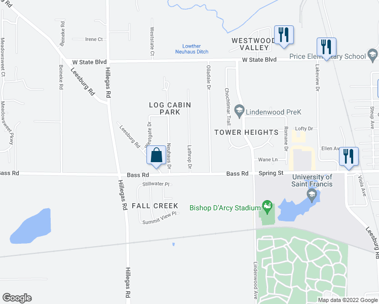 map of restaurants, bars, coffee shops, grocery stores, and more near Lathrop Drive in Fort Wayne