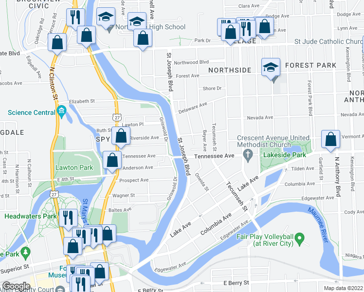 map of restaurants, bars, coffee shops, grocery stores, and more near Saint Joseph Boulevard in Fort Wayne