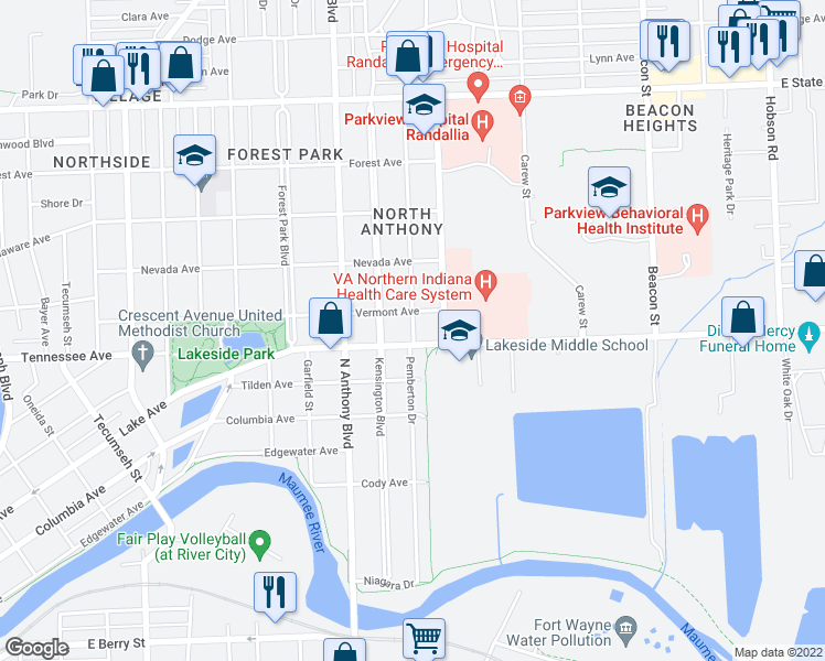 map of restaurants, bars, coffee shops, grocery stores, and more near Pemberton Drive in Fort Wayne
