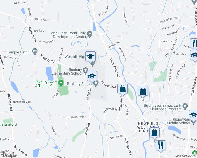 map of restaurants, bars, coffee shops, grocery stores, and more near 59 Roxbury Road in Stamford