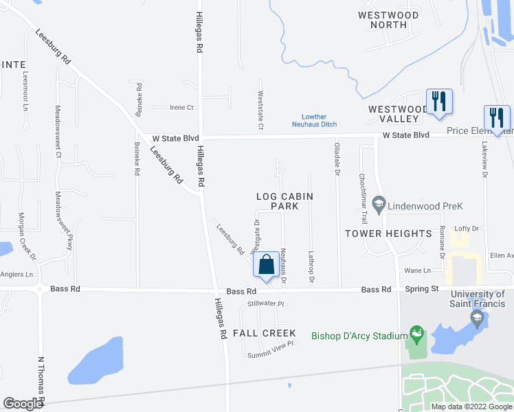 map of restaurants, bars, coffee shops, grocery stores, and more near Westgate Drive in Fort Wayne