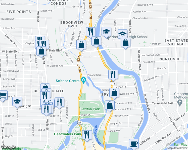map of restaurants, bars, coffee shops, grocery stores, and more near Elizabeth Street in Fort Wayne