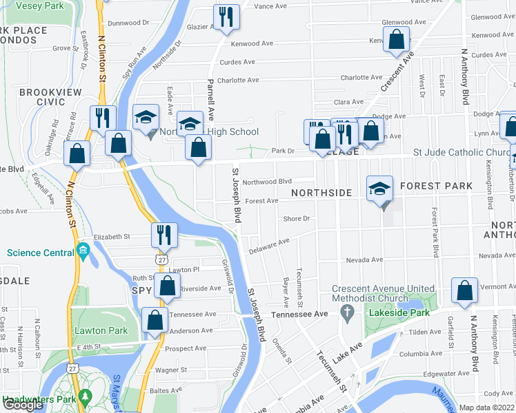 map of restaurants, bars, coffee shops, grocery stores, and more near Hillside Avenue in Fort Wayne
