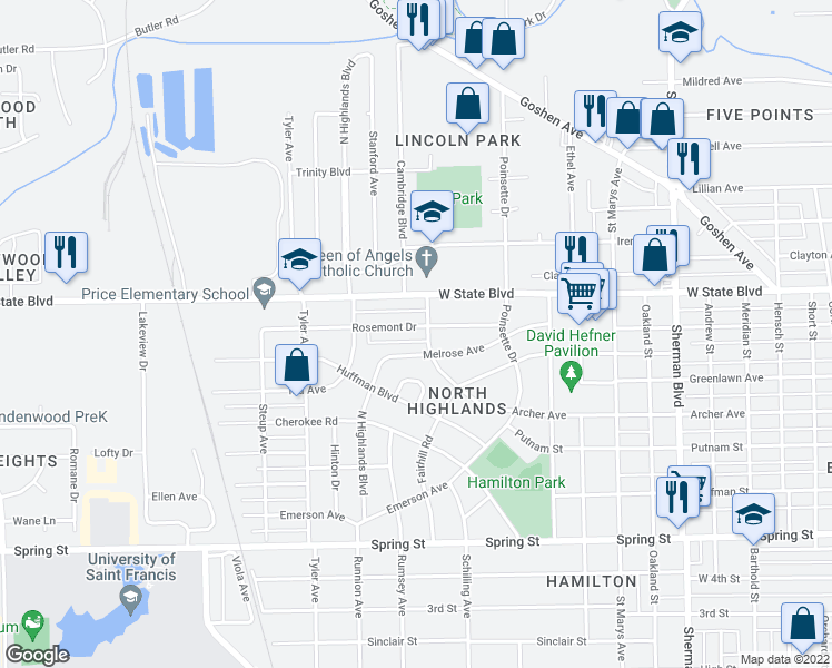 map of restaurants, bars, coffee shops, grocery stores, and more near 1645 Rosemont Drive in Fort Wayne