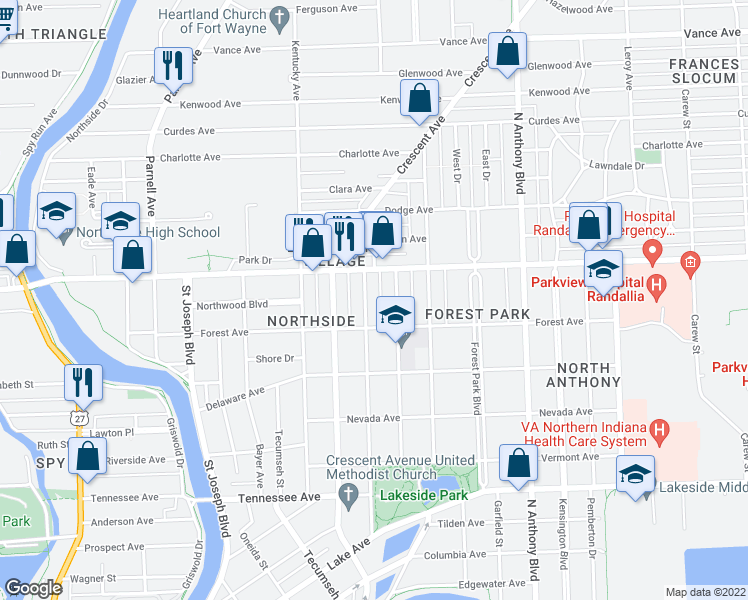 map of restaurants, bars, coffee shops, grocery stores, and more near 2130 California Avenue in Fort Wayne