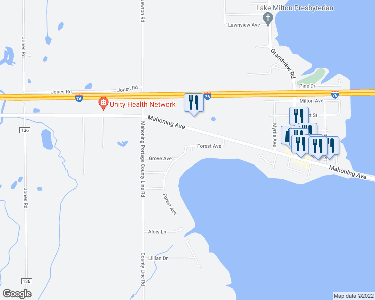 map of restaurants, bars, coffee shops, grocery stores, and more near 161 Forest Avenue in Lake Milton