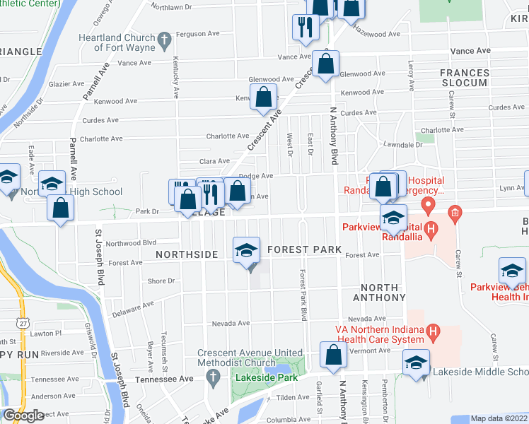 map of restaurants, bars, coffee shops, grocery stores, and more near 2305 Florida Drive in Fort Wayne