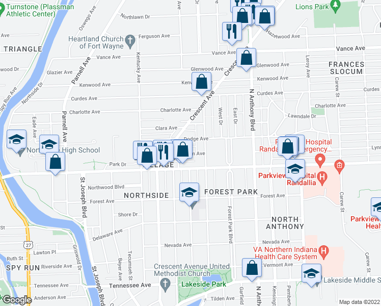 map of restaurants, bars, coffee shops, grocery stores, and more near Lynn Avenue in Fort Wayne