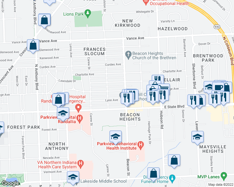 map of restaurants, bars, coffee shops, grocery stores, and more near 2706 Dodge Avenue in Fort Wayne