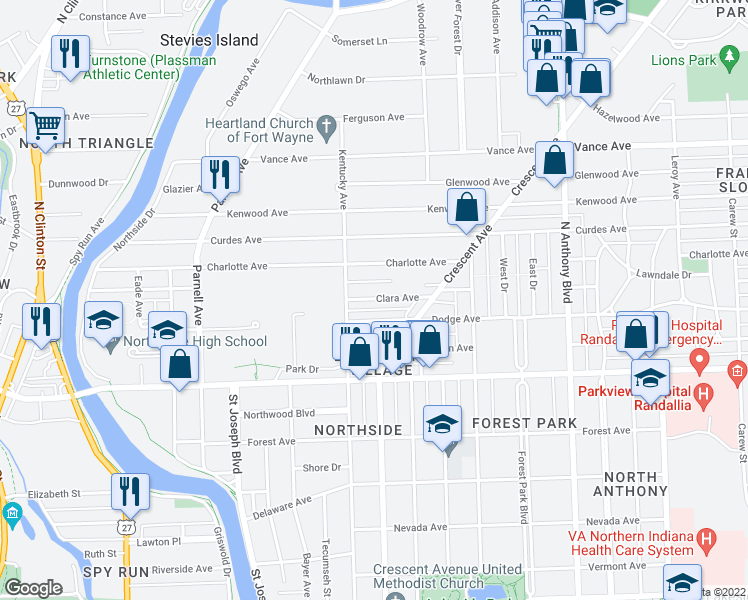 map of restaurants, bars, coffee shops, grocery stores, and more near 1134 Clara Avenue in Fort Wayne