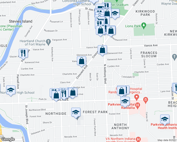 map of restaurants, bars, coffee shops, grocery stores, and more near 2711 West Drive in Fort Wayne