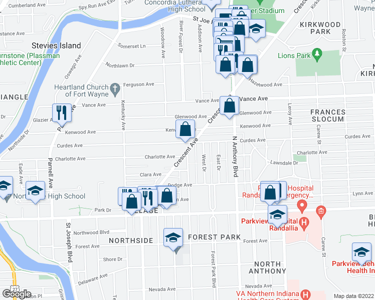 map of restaurants, bars, coffee shops, grocery stores, and more near Crescent Avenue in Fort Wayne
