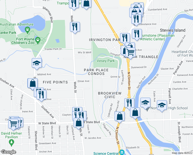map of restaurants, bars, coffee shops, grocery stores, and more near 2937 Westbrook Drive in Fort Wayne