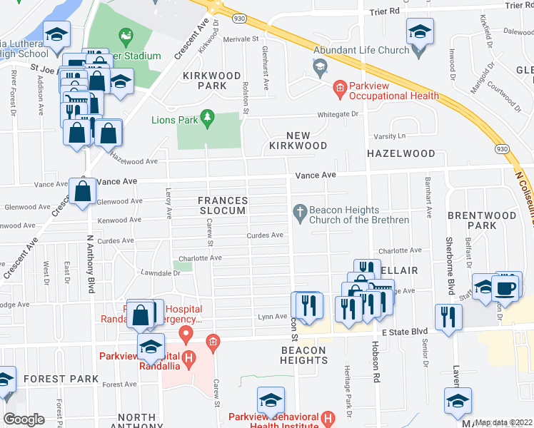 map of restaurants, bars, coffee shops, grocery stores, and more near Kenwood Avenue in Fort Wayne