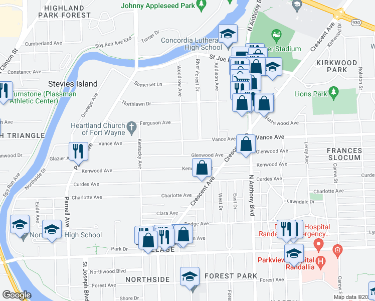 map of restaurants, bars, coffee shops, grocery stores, and more near 1411 Glenwood Avenue in Fort Wayne