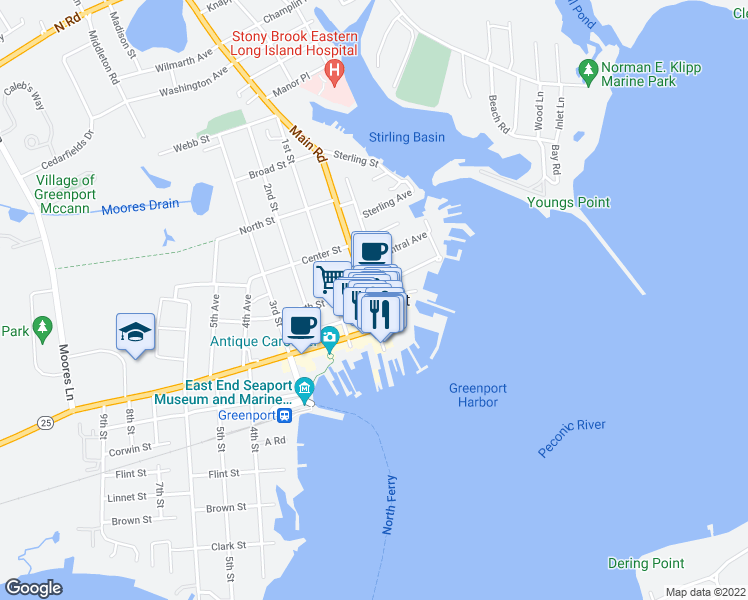 map of restaurants, bars, coffee shops, grocery stores, and more near 236 3rd Street in Greenport