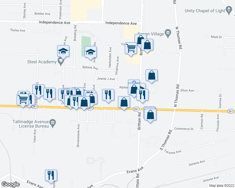 map of restaurants, bars, coffee shops, grocery stores, and more near 1446 Alphada Avenue in Akron
