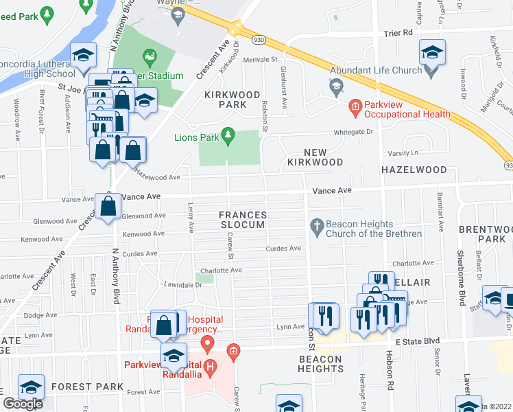 map of restaurants, bars, coffee shops, grocery stores, and more near 2515 Glenwood Avenue in Fort Wayne