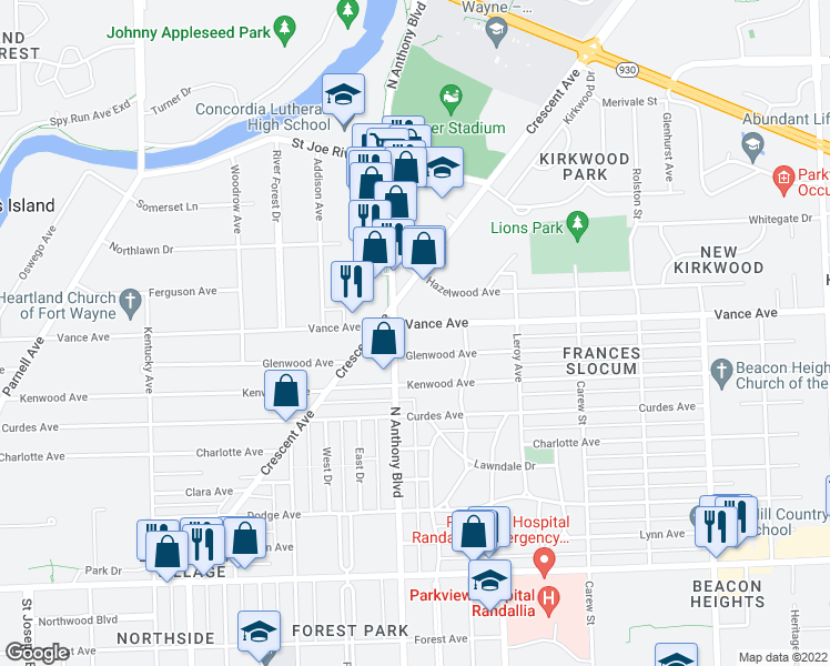 map of restaurants, bars, coffee shops, grocery stores, and more near 1818 Vance Avenue in Fort Wayne