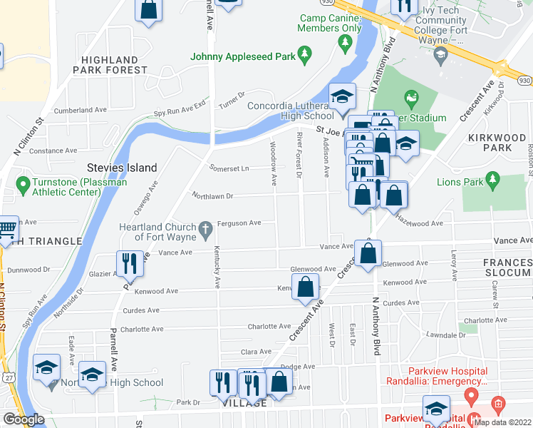 map of restaurants, bars, coffee shops, grocery stores, and more near 1307 Ferguson Avenue in Fort Wayne