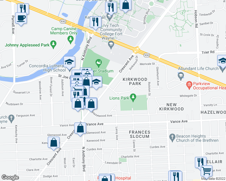 map of restaurants, bars, coffee shops, grocery stores, and more near Springfield Avenue in Fort Wayne