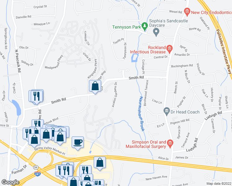 map of restaurants, bars, coffee shops, grocery stores, and more near 100 Avalon Gardens Drive in Nanuet