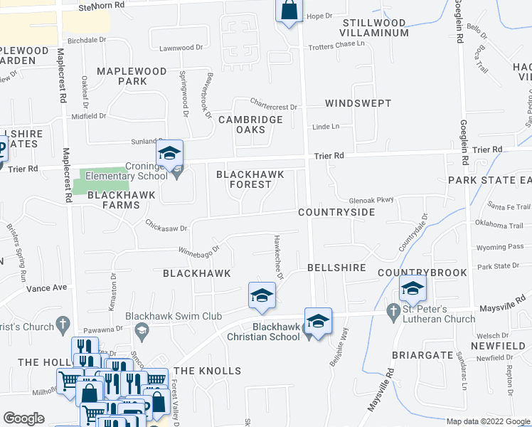 map of restaurants, bars, coffee shops, grocery stores, and more near Blackhawk Lane in Fort Wayne