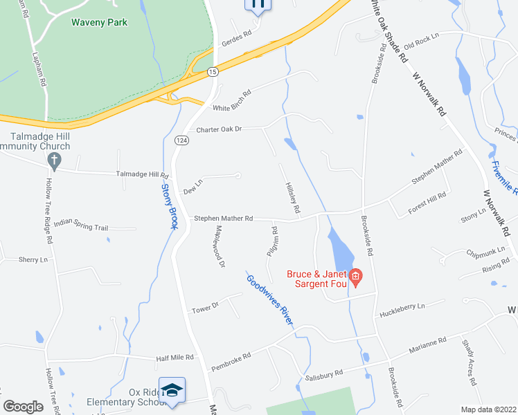 map of restaurants, bars, coffee shops, grocery stores, and more near 85 Stephen Mather Road in Darien