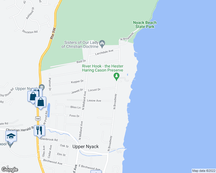 map of restaurants, bars, coffee shops, grocery stores, and more near 106 Locust Drive in Nyack