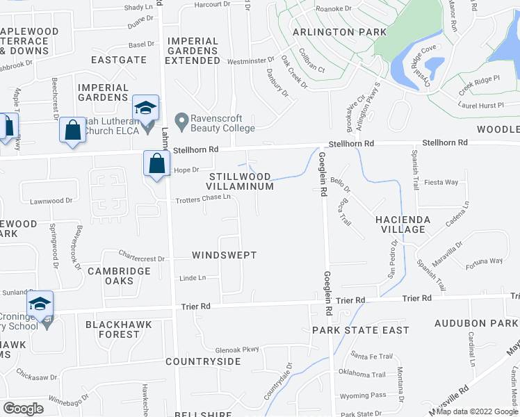 map of restaurants, bars, coffee shops, grocery stores, and more near 4110 Stillwood Drive in Fort Wayne