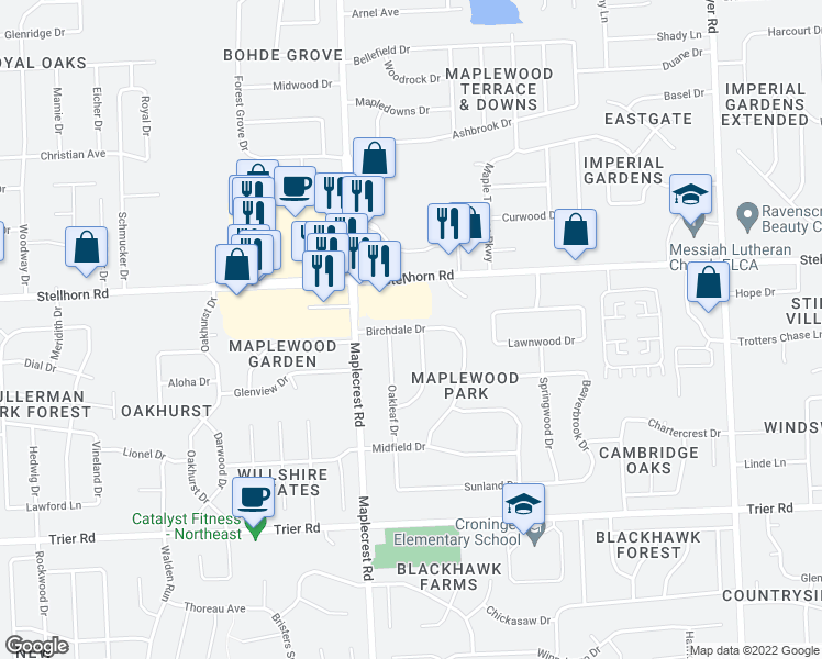 map of restaurants, bars, coffee shops, grocery stores, and more near Birchdale Drive in Fort Wayne
