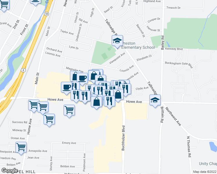 map of restaurants, bars, coffee shops, grocery stores, and more near 705 Edward Avenue in Cuyahoga Falls